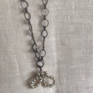 Brass necklace woven 2gether w/fresh water pearls
